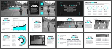 Modelos de slides de apresentação de negócios de elementos de infográfico vetor