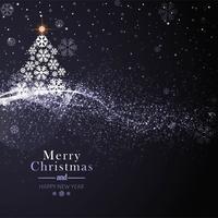 Lindo cartão de feliz natal com fundo de árvore vetor