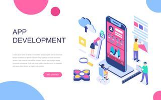 Conceito isométrico moderno design plano de desenvolvimento de aplicativos
