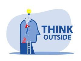 pense fora, a pessoa do empresário original subindo alto com lâmpada, metáfora de inovação, energia, brainstorm e inspiração. ilustração estilizada criativa em vetor
