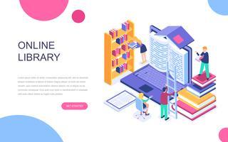 Conceito isométrico de design moderno plano de biblioteca on-line