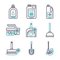 conjunto de ícones de conjunto de desinfetantes vetor