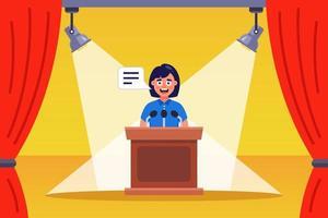 discurso da menina oradora no palco. ilustração vetorial plana vetor