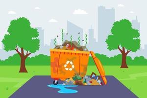 contentor de lixo sujo na rua. serviços municipais precários. ilustração vetorial plana. vetor