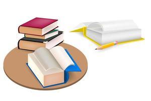 conjunto de livros, livro didático e lápis vetor