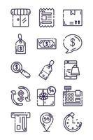 pacote de ícones de conjuntos comerciais vetor
