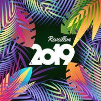 2019 feliz ano novo fundo de conceito de férias tropicais vetor
