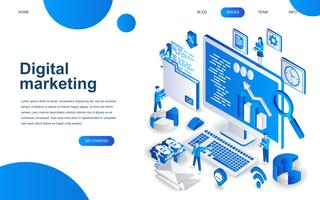 Conceito moderno de design isométrico de Marketing Digital vetor