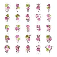 conjunto de ícones de conjunto de sorvetes vetor