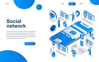 Conceito moderno design isométrico de rede social vetor