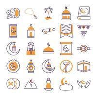 conjunto de ícones do ramadan kareem vetor