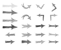 seta doodle conjunto de rabisco. coleção de sinais desenhados à mão vetor