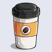 copo de café de papel café de papel e copo de bebida café branco com vetor