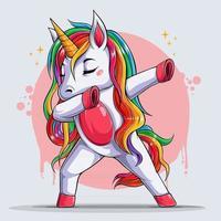 unicórnio fofinho, unicórnio engraçado dançando dabbing, movimento vetor
