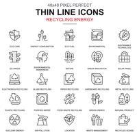 Linha fina reciclagem conjunto de ícones de proteção ambiental vetor