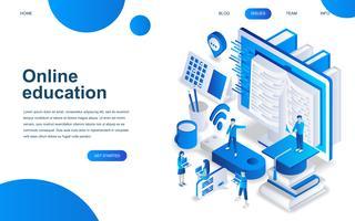 Conceito moderno de design isométrico de educação on-line