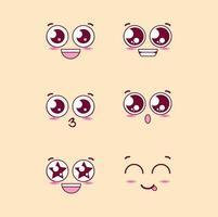grupo de personagens de emoticons de rostos vetor