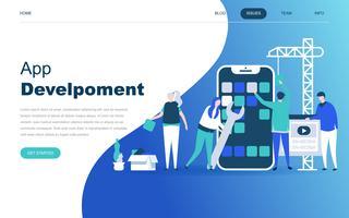 Conceito moderno design plano de desenvolvimento de aplicativos