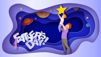 cartão do dia dos pais com o pai levantando o filho para o céu e as estrelas vetor