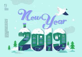 Feliz ano novo 2019 Lettering ilustração vetorial