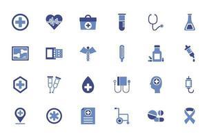 pacote de ícones de conjuntos médicos vetor