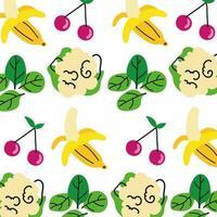 frutas e vegetais padrão de alimentação saudável vetor