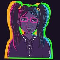 arte vetorial de um personagem de desenho animado nerd com tranças sob luzes de néon. garota nerd com óculos, sardas e um dente torto sorrindo e sendo feliz vetor