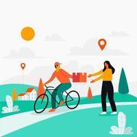 entregador entregando produto com vetor de conceito de ilustração de ciclo