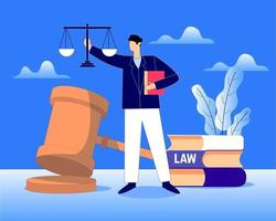 conceito de ilustração vetorial advogado, justiça e direito vetor