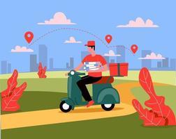 entregador andando de moto com vetor de conceito de ilustração de alimentos