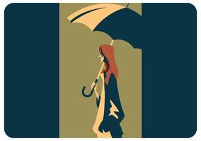 Uma menina com vetor de guarda-chuva