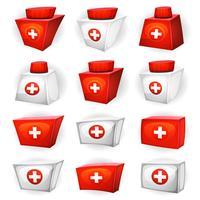 Ícones de caixa de remédio para jogo de interface do usuário vetor