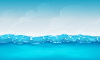 Fundo de oceano verão sem costura para jogo de interface do usuário vetor