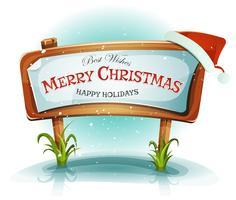 Chapéu de Papai Noel na placa de madeira de Natal