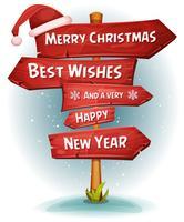Flechas de sinais de estrada de madeira feliz Natal vetor