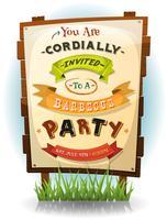 Convite para festa de churrasco no sinal de madeira vetor