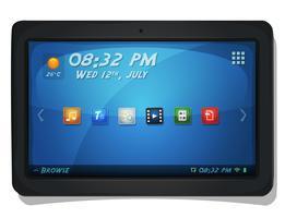 Tablet PC digital com ícones do sistema operacional