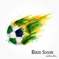 pintura em aquarela realista da poderosa seleção brasileira de futebol ou tiro de futebol. vetor