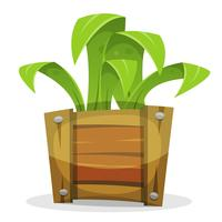 Planta verde engraçada no balde de madeira