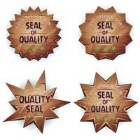 Selo de madeira dos desenhos animados da qualidade vetor