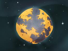 Planeta Terra dos desenhos animados no fundo do espaço