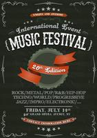 Poster de convite festival vintage na lousa