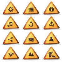 Web e sinal de estrada ícones e botões para o jogo de interface do usuário