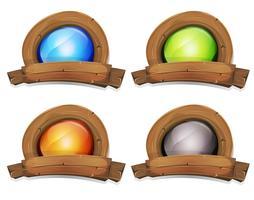 Banner de prêmio de madeira dos desenhos animados com tela de luz