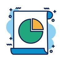 documento com ícone de estilo de detalhe de pizza de estatísticas vetor