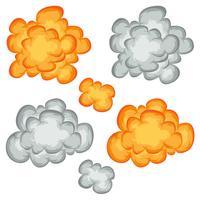 Explosão de quadrinhos, nuvens e conjunto de fumo