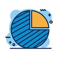 ícone de estilo de detalhe da pizza de estatísticas vetor