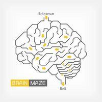 labirinto do cérebro. conceito de ideia criativa. contorno do cérebro cerebelo e tronco cerebral. vetor