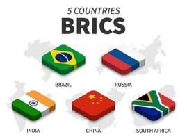 bandeiras do brics. associação de 5 países e mapa em fundo branco. design superior isométrico. vetor