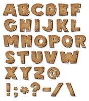 Alfabeto de madeira em quadrinhos vetor
